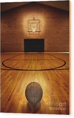 Basketball And Basketball Court Wood Print by Lane Erickson