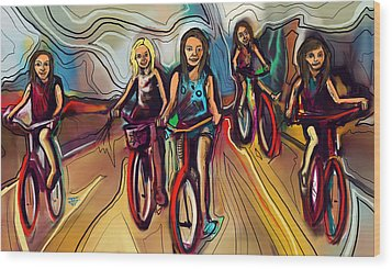 5 Bike Girls Wood Print by John Jr Gholson