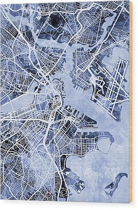 Boston Massachusetts Street Map Wood Print