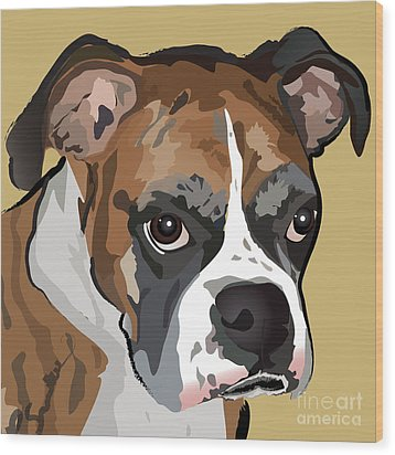 Boxer Dog Portrait Wood Print