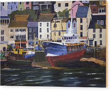 Brixham Harbour Wood Print by Mike Lester