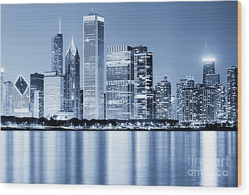 Chicago Skyline At Night Wood Print by Paul Velgos