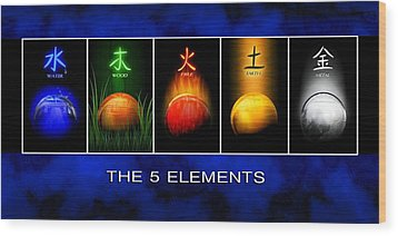 Wood Print featuring the digital art Asian Art 5 Elements Of Tcm by John Wills