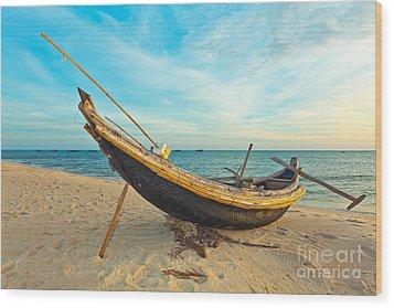 Fisherman Boat Wood Print by MotHaiBaPhoto Prints