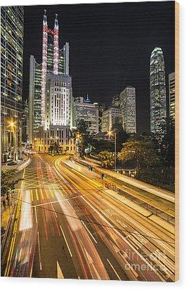 Hong Kong Night Rush Wood Print