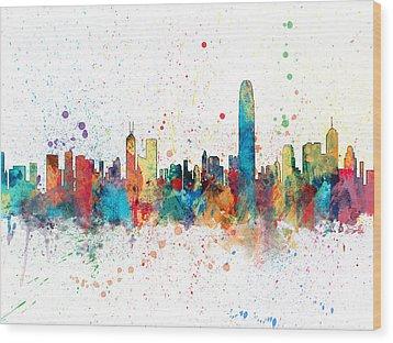 Hong Kong Skyline Wood Print by Michael Tompsett
