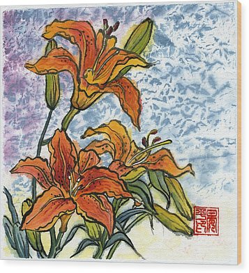 Lily Wood Print by Ping Yan