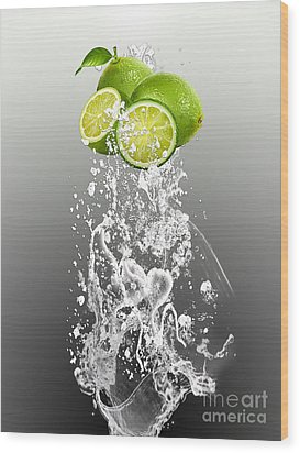 Lime Splash Wood Print