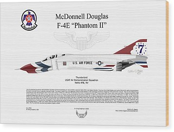 Mcdonnell Douglas F-4e Phantom II Thunderbird Wood Print by Arthur Eggers