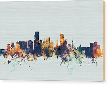 Miami Florida Skyline Wood Print by Michael Tompsett