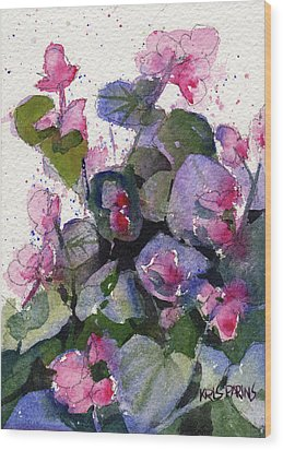 Wood Print featuring the painting My Annual Begonias by Kris Parins