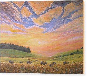 O Give Me A Home Where The Buffalo Roam Wood Print by Connie Tom