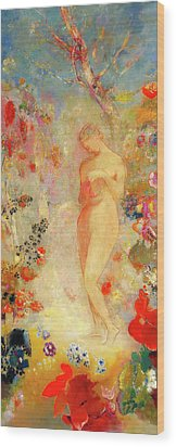 Wood Print featuring the painting Pandora by Odilon Redon