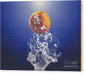 Peach Splash Wood Print