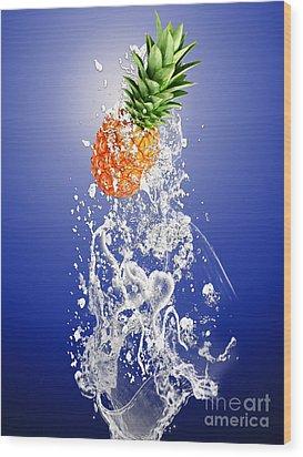 Pineapple Splash Wood Print