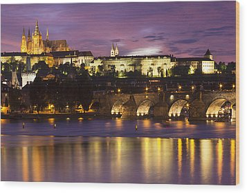 Prague Castle And Charles Bridge Wood Print by Andre Goncalves