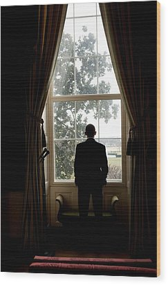 President Barack Obama Looks Wood Print by Everett