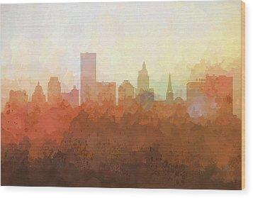 Wood Print featuring the digital art Providence Rhode Island Skyline by Marlene Watson
