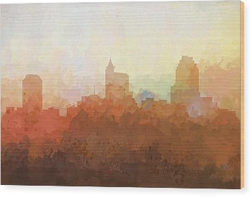 Wood Print featuring the digital art Raleigh North Carolina Skyline by Marlene Watson