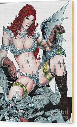 Red Sonja Wood Print by Bill Richards