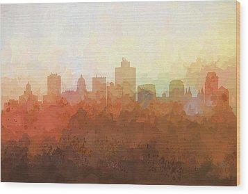 Wood Print featuring the digital art Salt Lake City Utah Skyline by Marlene Watson