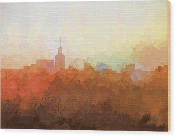 Wood Print featuring the digital art Santa Fe New Mexico Skyline by Marlene Watson