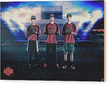 Wood Print featuring the digital art Southwest Aztecs Baseball Organization by Nicholas Grunas