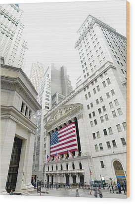 The Facade Of The New York Stock Wood Print by Justin Guariglia