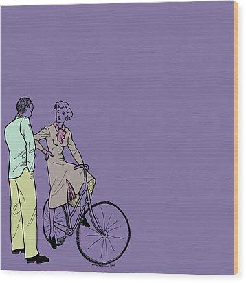 Vintage Bike Couple Wood Print by Karl Addison