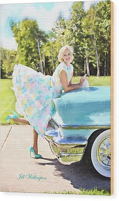 Vintage Val In The Turquoise Vintage Car Wood Print