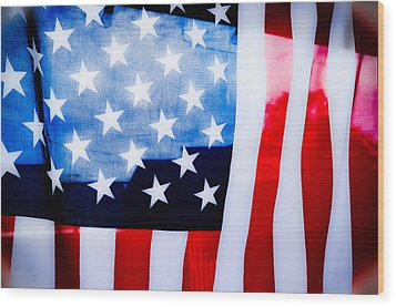 50 Stars 13 Bars Wood Print by Keith Sanders