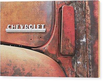 50s Chevrolet Pickup Logo Wood Print by Jim Hughes