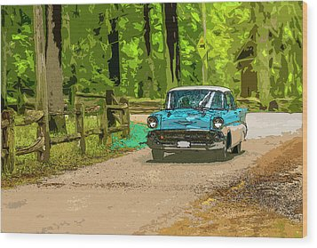 55 Chev Wood Print by Irwin Seidman