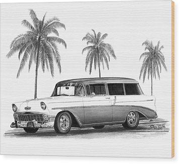 56 Chevy Wagon Wood Print
