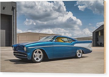 Wood Print featuring the digital art '57 Chevy Custom by Douglas Pittman