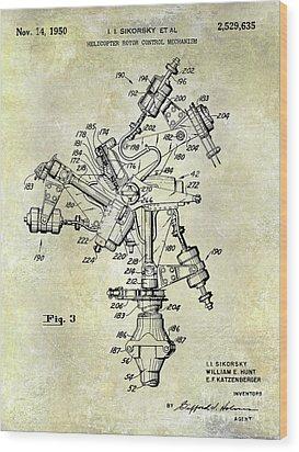 1950 Helicopter Patent Wood Print by Jon Neidert