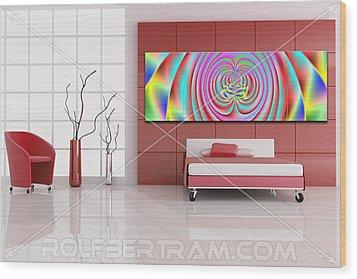 An Example Of Modern Art By Rolf Bertram In An Interior Design Setting Wood Print by Rolf Bertram