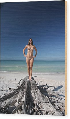 Beach Girl Wood Print by Lucky Cole