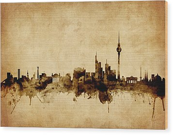 Berlin Germany Skyline Wood Print by Michael Tompsett