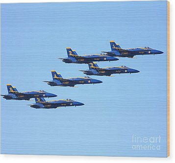 6 Blue Angels Jetting Through The Sky Wood Print by Wingsdomain Art and Photography