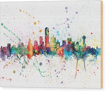 Dallas Texas Skyline Wood Print by Michael Tompsett