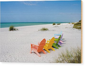 Florida Sanibel Island Summer Vacation Beach Wood Print by ELITE IMAGE photography By Chad McDermott