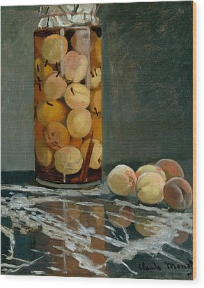 Jar Of Peaches Wood Print by Claude Monet