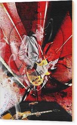 Joe Bonamassa Blues Guitarist Art. Wood Print by Marvin Blaine