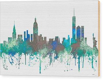 Wood Print featuring the digital art New York Ny Skyline by Marlene Watson