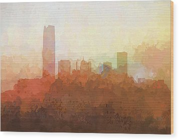 Wood Print featuring the digital art Oklahoma City Oklahoma Skyline by Marlene Watson