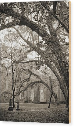 Old Sheldon Church Ruins Wood Print by Dustin K Ryan