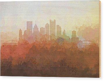 Wood Print featuring the digital art Pittsburgh Pennsylvania Skyline by Marlene Watson