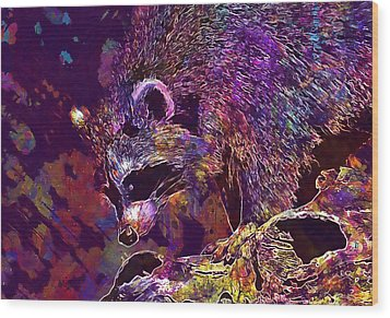 Wood Print featuring the digital art Raccoon Wild Animal Furry Mammal  by PixBreak Art