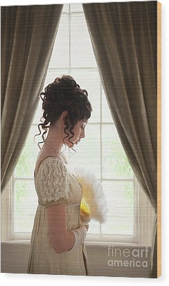 Regency Woman At The Window Wood Print